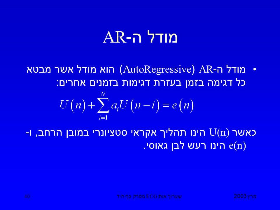 מרץ 2003 שערוך אות ECG מפרק כף היד 40 מודל ה -AR מודל ה -AR (AutoRegressive) הוא מודל אשר מבטא כל דגימה בזמן בעזרת דגימות בזמנים אחרים : כאשר U(n) הינו תהליך אקראי סטציונרי במובן הרחב, ו - e(n) הינו רעש לבן גאוסי.
