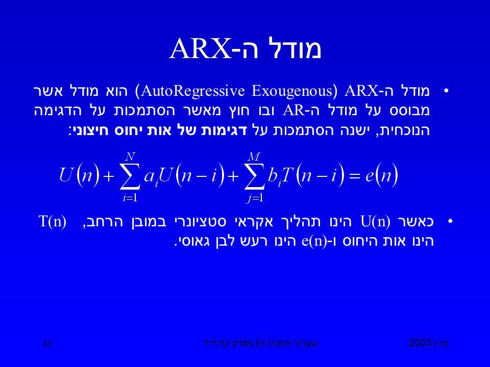 מרץ 2003 שערוך אות ECG מפרק כף היד 41 מודל ה -ARX מודל ה -ARX (AutoRegressive Exougenous) הוא מודל אשר מבוסס על מודל ה -AR ובו חוץ מאשר הסתמכות על הדגימה הנוכחית, ישנה הסתמכות על דגימות של אות יחוס חיצוני : כאשר U(n) הינו תהליך אקראי סטציונרי במובן הרחב, T(n) הינו אות היחוס ו -e(n) הינו רעש לבן גאוסי.