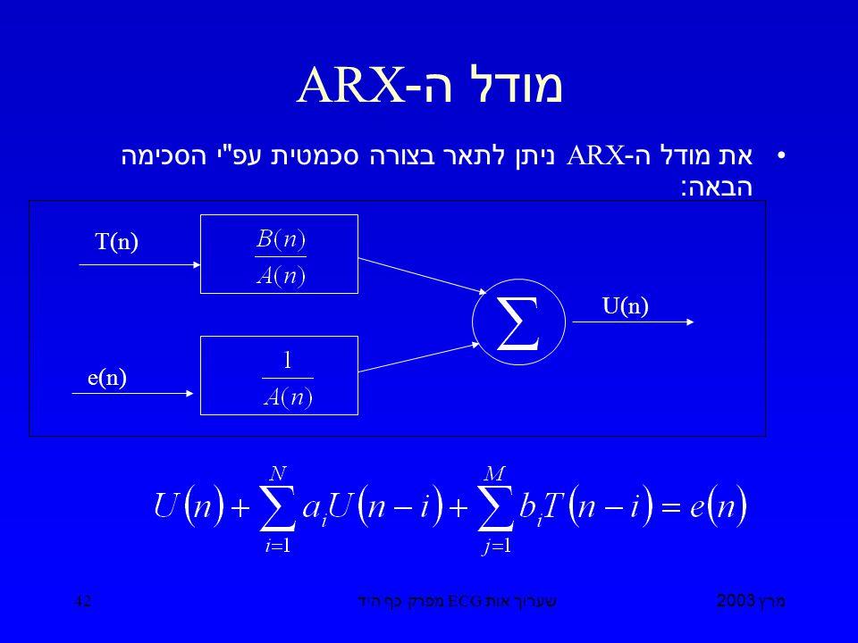 מרץ 2003 שערוך אות ECG מפרק כף היד 42 מודל ה -ARX את מודל ה -ARX ניתן לתאר בצורה סכמטית עפ י הסכימה הבאה : T(n) e(n) U(n)