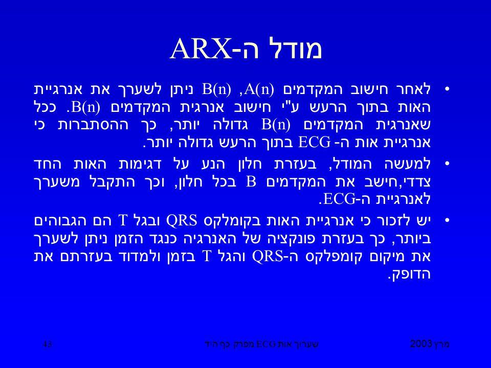 מרץ 2003 שערוך אות ECG מפרק כף היד 43 מודל ה -ARX לאחר חישוב המקדמים A(n), B(n) ניתן לשערך את אנרגיית האות בתוך הרעש ע י חישוב אנרגית המקדמים B(n).