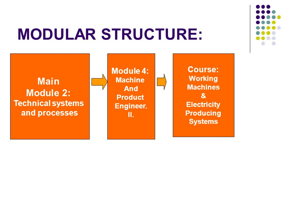 MODULAR STRUCTURE: Main Module 2: Technical systems and processes Module 4: Machine And Product Engineer. II. Course: Working Machines & Electricity P
