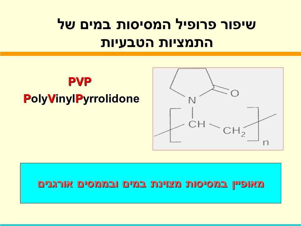 שיפור פרופיל המסיסות במים של התמציות הטבעיות PVP PolyVinylPyrrolidone PolyVinylPyrrolidone מאופיין במסיסות מצוינת במים ובממסים אורגנים