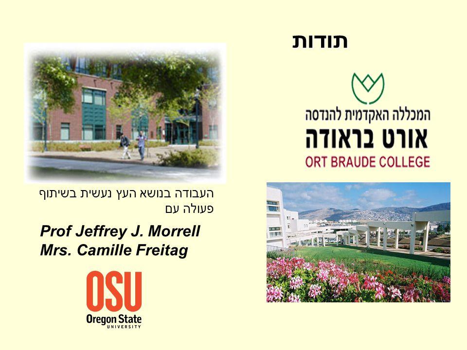 תודות Prof Jeffrey J. Morrell Mrs. Camille Freitag העבודה בנושא העץ נעשית בשיתוף פעולה עם