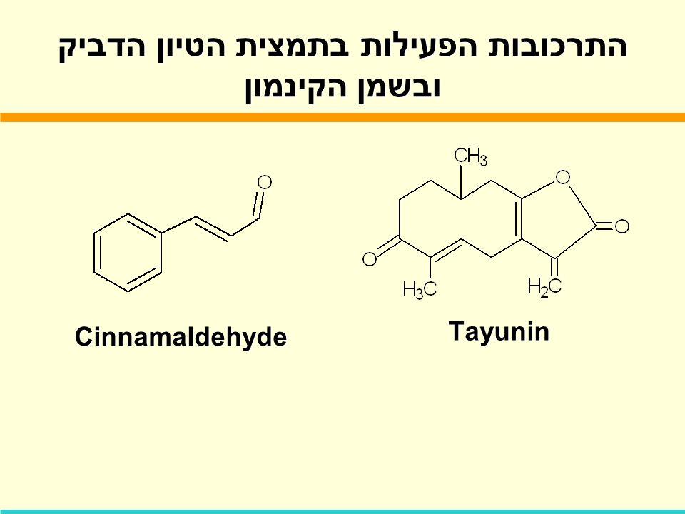 התרכובות הפעילות בתמצית הטיון הדביק ובשמן הקינמון Cinnamaldehyde Tayunin