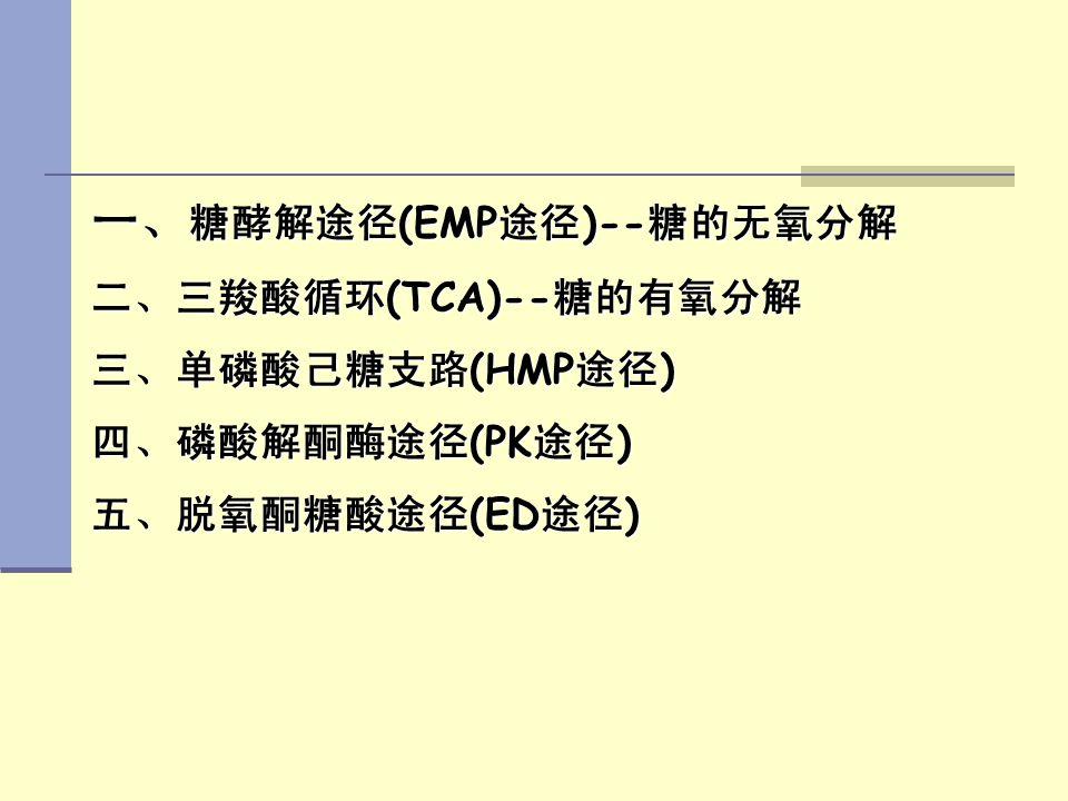 一、 糖酵解途径 (EMP 途径 )-- 糖的无氧分解 二、三羧酸循环 (TCA)-- 糖的有氧分解 三、单磷酸己糖支路 (HMP 途径 ) 四、磷酸解酮酶途径 (PK 途径 ) 五、脱氧酮糖酸途径 (ED 途径 )