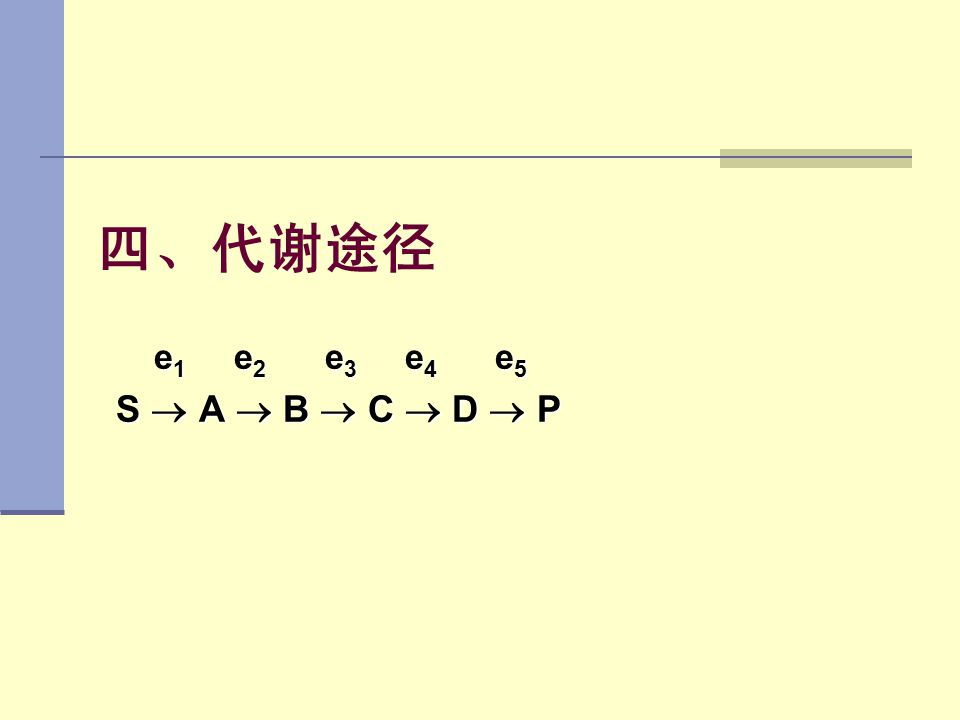 四、代谢途径 e 1 e 2 e 3 e 4 e 5 S  A  B  C  D  P S  A  B  C  D  P