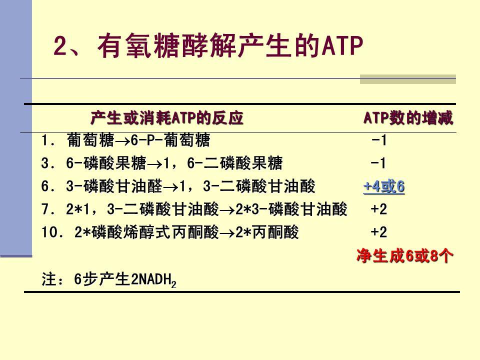 2、有氧糖酵解产生的ATP 产生或消耗ATP的反应 ATP数的增减 产生或消耗ATP的反应 ATP数的增减 1.葡萄糖  6-P-葡萄糖 -1 3.6-磷酸果糖  1,6-二磷酸果糖 -1 6.3-磷酸甘油醛  1,3-二磷酸甘油酸 +4或6 +4或6+4或6 7.2*1,3-二磷酸甘油酸 