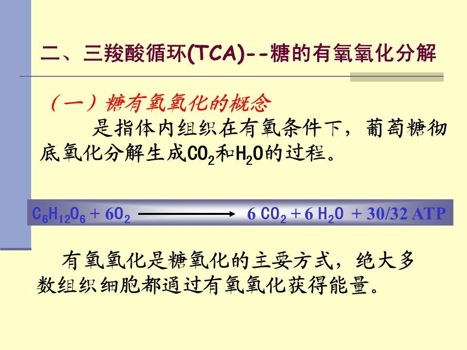 二、三羧酸循环 (TCA)-- 糖的有氧氧化分解 (一)糖有氧氧化的概念 是指体内组织在有氧条件下,葡萄糖彻 底氧化分解生成 CO 2 和 H 2 O 的过程。 有氧氧化是糖氧化的主要方式,绝大多 数组织细胞都通过有氧氧化获得能量。 C 6 H 12 O 6 + 6 O 2 6 CO 2 + 6 H