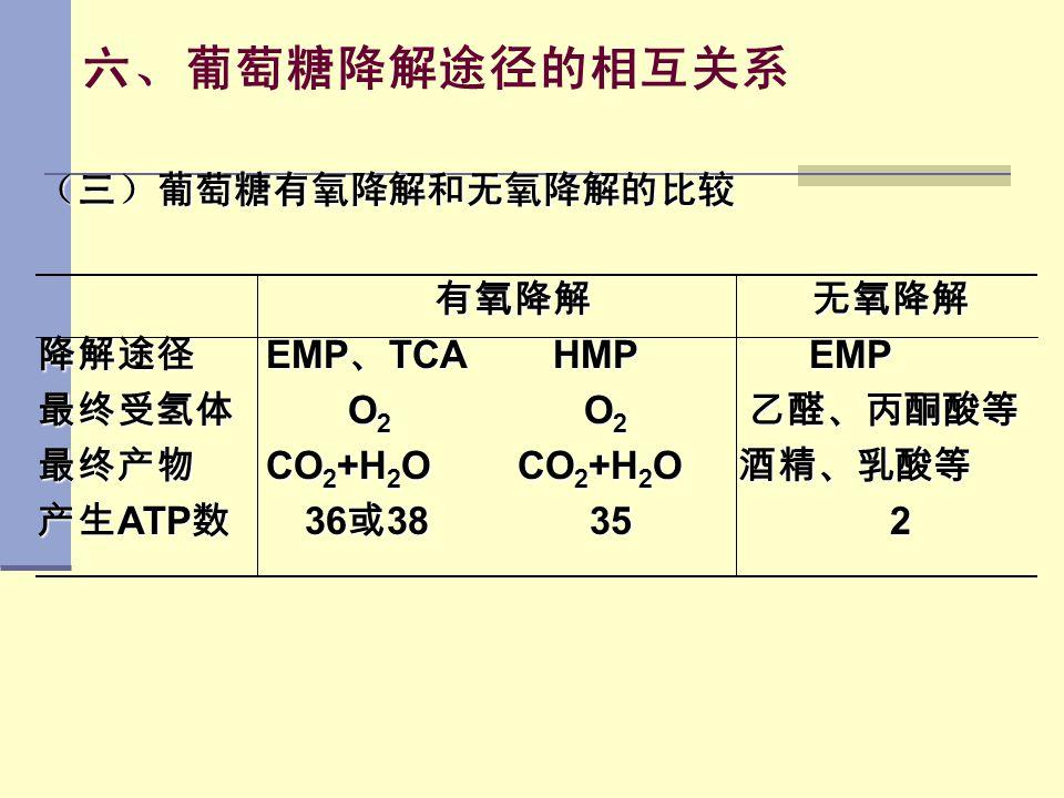 六、葡萄糖降解途径的相互关系 (三)葡萄糖有氧降解和无氧降解的比较 有氧降解 无氧降解 有氧降解 无氧降解 降解途径 EMP 、 TCA HMP EMP 最终受氢体 O 2 O 2 乙醛、丙酮酸等 最终产物 CO 2 +H 2 O CO 2 +H 2 O 酒精、乳酸等 产生 ATP 数 36 或 3