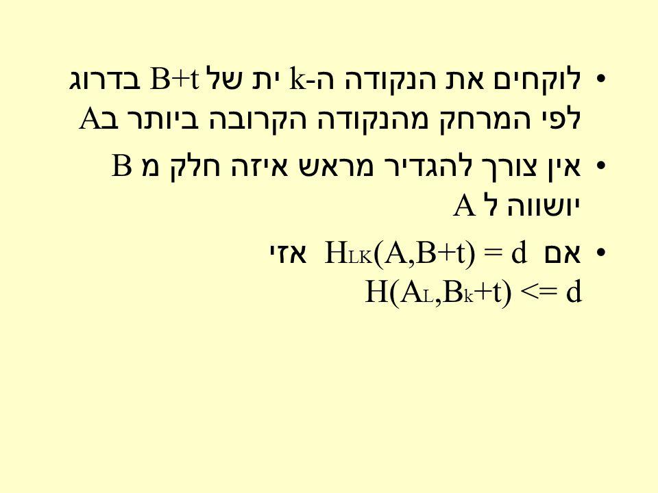 לוקחים את הנקודה ה k- ית של B+t בדרוג לפי המרחק מהנקודה הקרובה ביותר ב A אין צורך להגדיר מראש איזה חלק מ B יושווה ל A אם H LK (A,B+t) = d אזי H(A L,B k +t) <= d