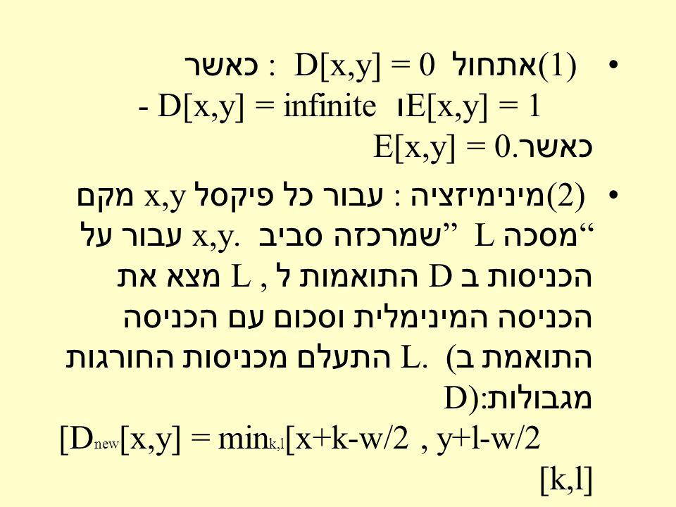 (1 ) אתחול : D[x,y] = 0 כאשר E[x,y] = 1 ו - D[x,y] = infinite כאשר E[x,y] = 0.