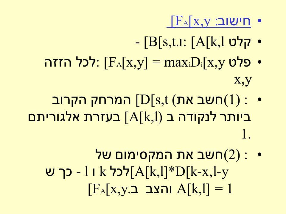 חישוב [F A [x,y : קלט : [A[k,l ו - [B[s,t. פלט : [F A [x,y] = max i D i [x,y לכל הזזה x,y (1 ) : חשב את [D[s,t ( המרחק הקרוב ביותר לנקודה ב [A[k,l) בע