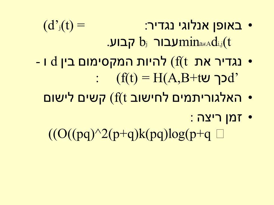 באופן אנלוגי נגדיר : (d' j (t) = min a i€ A d i,j (t עבור b j קבוע.