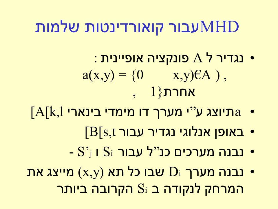 MHD עבור קואורדינטות שלמות נגדיר ל A פונקציה אופיינית : x,y)€A ),a(x,y) = {0 אחרת, 1} a תיוצג ע י מערך דו מימדי בינארי [A[k,l באופן אנלוגי נגדיר עבור [B[s,t נבנה מערכים כנ ל עבור S i ו - S' j נבנה מערך D i שבו כל תא (x,y) מייצג את המרחק לנקודה ב S i הקרובה ביותר