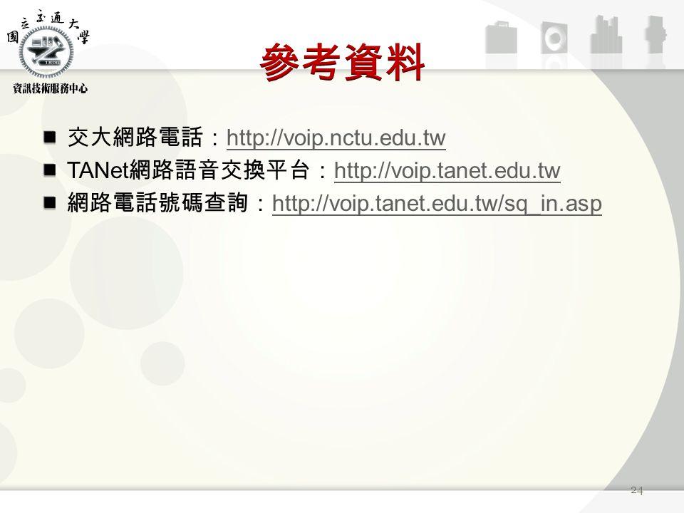 交大網路電話: http://voip.nctu.edu.tw http://voip.nctu.edu.tw TANet 網路語音交換平台: http://voip.tanet.edu.tw http://voip.tanet.edu.tw 網路電話號碼查詢: http://voip.tanet.edu.tw/sq_in.asp http://voip.tanet.edu.tw/sq_in.asp 24