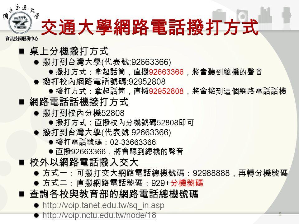 桌上分機撥打方式 撥打到台灣大學 ( 代表號 :92663366) 撥打方式:拿起話筒,直撥 92663366 ,將會聽到總機的聲音 撥打校內網路電話號碼 :92952808 撥打方式:拿起話筒,直撥 92952808 ,將會撥到這個網路電話話機 網路電話話機撥打方式 撥打到校內分機 52808 撥打方式:直撥校內分機號碼 52808 即可 撥打到台灣大學 ( 代表號 :92663366) 撥打電話號碼: 02-33663366 直撥 92663366 ,將會聽到總機的聲音 校外以網路電話撥入交大 方式一:可撥打交大網路電話總機號碼: 92988888 ,再轉分機號碼 方式二:直撥網路電話號碼: 929+ 分機號碼 查詢各校與教育部的網路電話總機號碼 http://voip.tanet.edu.tw/sq_in.asp http://voip.nctu.edu.tw/node/18 5