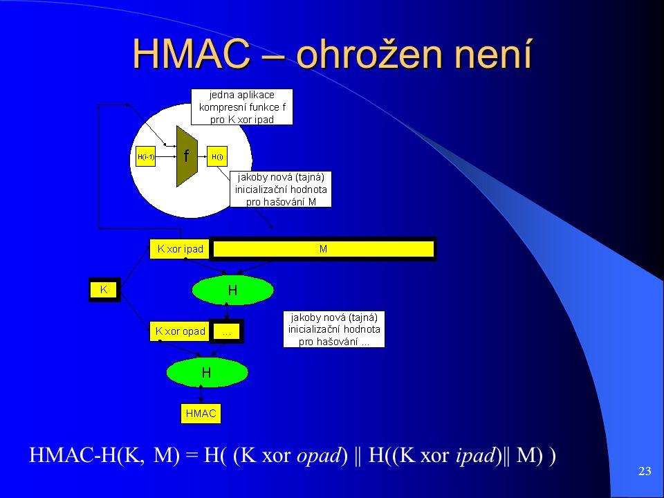 23 HMAC – ohrožen není HMAC-H(K, M) = H( (K xor opad) || H((K xor ipad)|| M) )