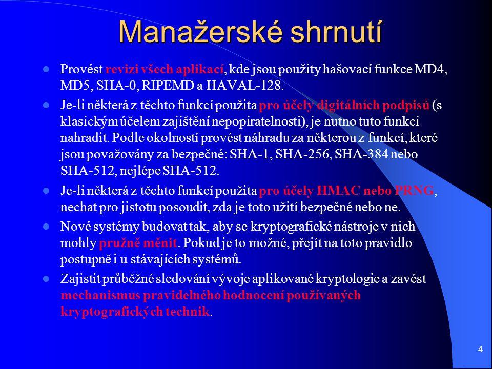 4 Manažerské shrnutí Provést revizi všech aplikací, kde jsou použity hašovací funkce MD4, MD5, SHA-0, RIPEMD a HAVAL-128.