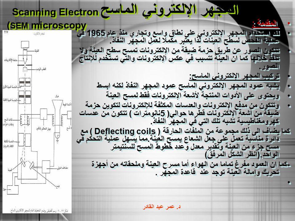 المجهر الإلكتروني الماسح Scanning Electron microscopy ( SEM المقدمة : لقد استخدام المجهر الإلكتروني على نطاق واسع وتجاري منذ عام 1965 في عملية الفحص ل