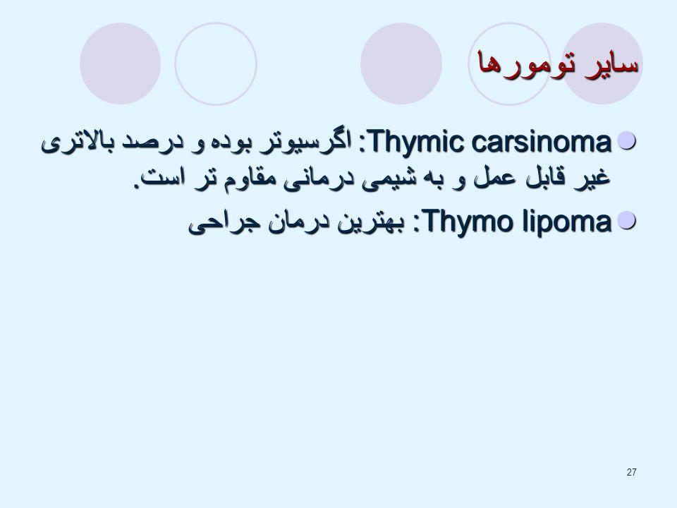 27 سایر تومورها Thymic carsinoma: اگرسیوتر بوده و درصد بالاتری غیر قابل عمل و به شیمی درمانی مقاوم تر است.