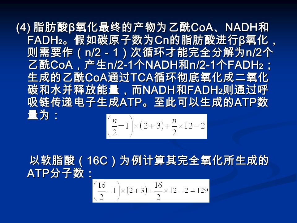 (4) 脂肪酸 β 氧化最终的产物为乙酰 CoA 、 NADH 和 FADH 2 。假如碳原子数为 Cn 的脂肪酸进行 β 氧化, 则需要作( n/2 - 1 )次循环才能完全分解为 n/2 个 乙酰 CoA ,产生 n/2-1 个 NADH 和 n/2-1 个 FADH 2 ; 生成的乙酰 CoA