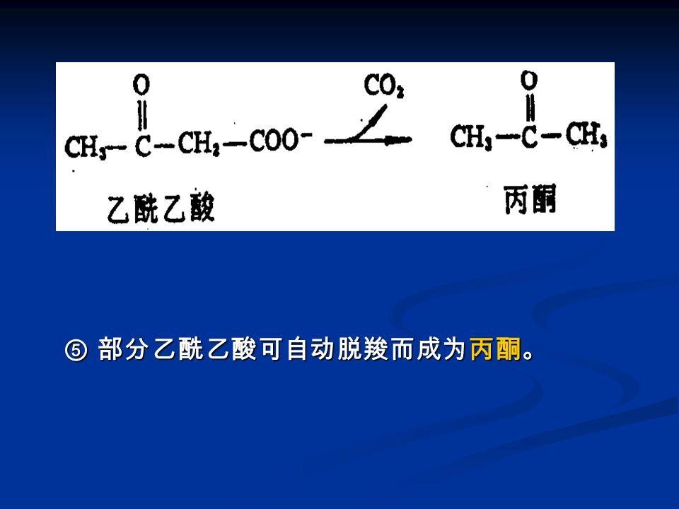 图 酮体的生成 -5 ⑤ 部分乙酰乙酸可自动脱羧而成为丙酮。