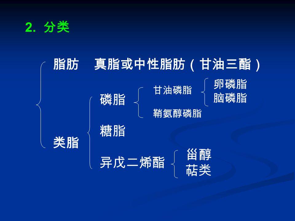 2. 分类 脂肪 真脂或中性脂肪(甘油三酯) 类脂 磷脂 糖脂 异戊二烯酯 甾醇 萜类 甘油磷脂 鞘氨醇磷脂 卵磷脂 脑磷脂