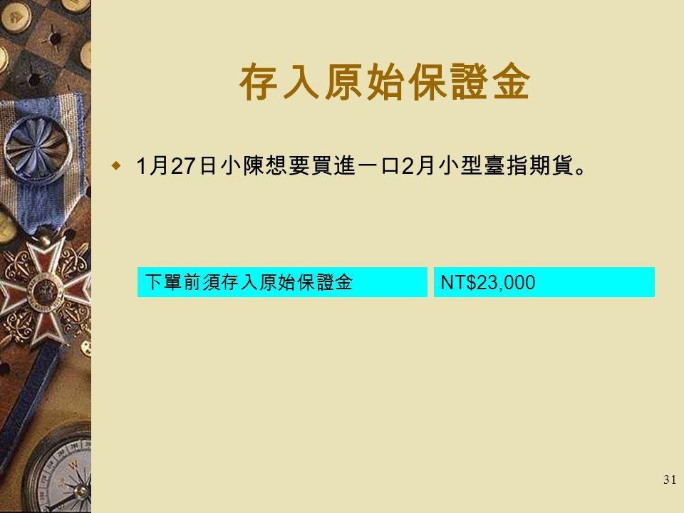 31 存入原始保證金  1 月 27 日小陳想要買進一口 2 月小型臺指期貨。 下單前須存入原始保證金 NT$23,000