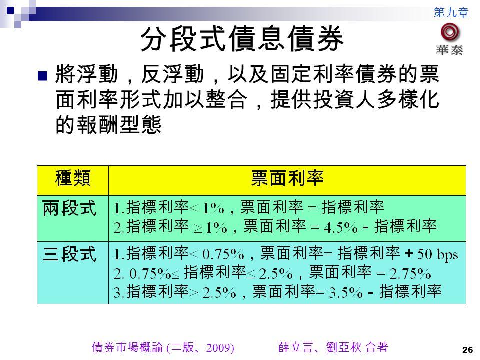 第九章 債券市場概論 ( 二版、 2009) 薛立言、劉亞秋 合著 26 分段式債息債券 將浮動,反浮動,以及固定利率債券的票 面利率形式加以整合,提供投資人多樣化 的報酬型態