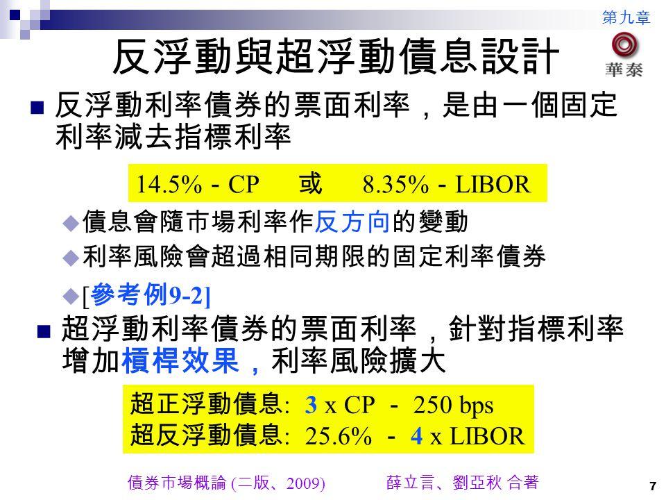 第九章 債券市場概論 ( 二版、 2009) 薛立言、劉亞秋 合著 7 反浮動與超浮動債息設計 反浮動利率債券的票面利率,是由一個固定 利率減去指標利率 超浮動利率債券的票面利率,針對指標利率 增加槓桿效果,利率風險擴大 14.5% - CP 或 8.35% - LIBOR  債息會隨市場利率作反