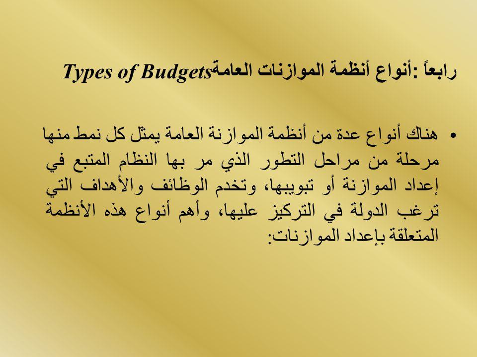 رابعاً: أنواع أنظمة الموازنات العامة Types of Budgets هناك أنواع عدة من أنظمة الموازنة العامة يمثل كل نمط منها مرحلة من مراحل التطور الذي مر بها النظا
