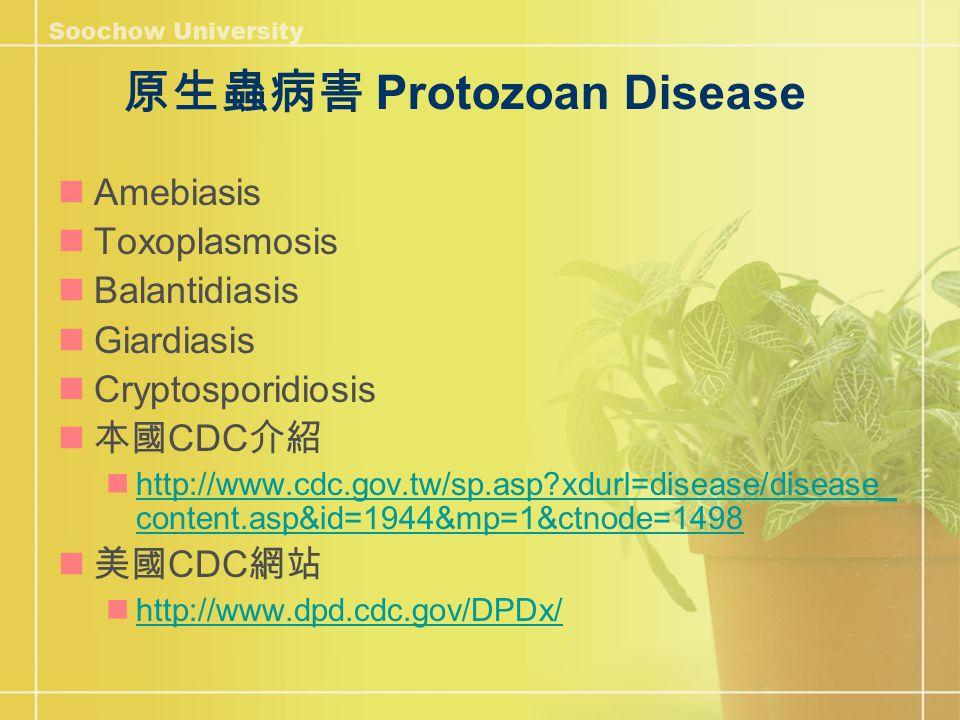 原生蟲病害 Protozoan Disease Amebiasis Toxoplasmosis Balantidiasis Giardiasis Cryptosporidiosis 本國 CDC 介紹 http://www.cdc.gov.tw/sp.asp?xdurl=disease/disease_ content.asp&id=1944&mp=1&ctnode=1498 http://www.cdc.gov.tw/sp.asp?xdurl=disease/disease_ content.asp&id=1944&mp=1&ctnode=1498 美國 CDC 網站 http://www.dpd.cdc.gov/DPDx/