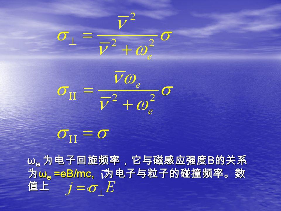 ω e 为电子回旋频率,它与磁感应强度 B 的关系 为 ω e =eB/mc, 为电子与粒子的碰撞频率。数 值上 。 ω e 为电子回旋频率,它与磁感应强度 B 的关系 为 ω e =eB/mc, 为电子与粒子的碰撞频率。数 值上 。