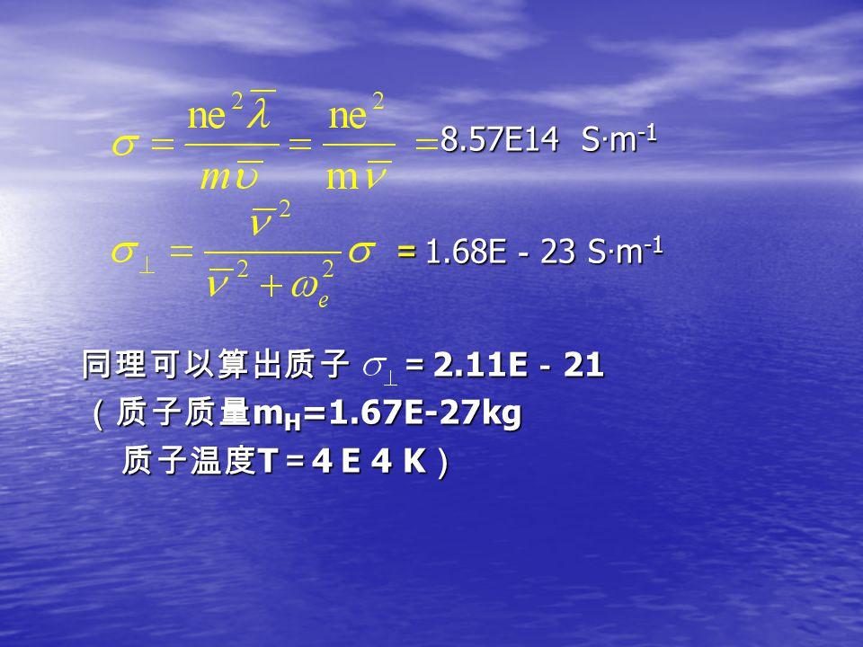 8.57E14 S · m -1 8.57E14 S · m -1 = 1.68E - 23 S · m -1 = 1.68E - 23 S · m -1 同理可以算出质子 = 2.11E - 21 同理可以算出质子 = 2.11E - 21 (质子质量 m H =1.67E-27kg (质子质量