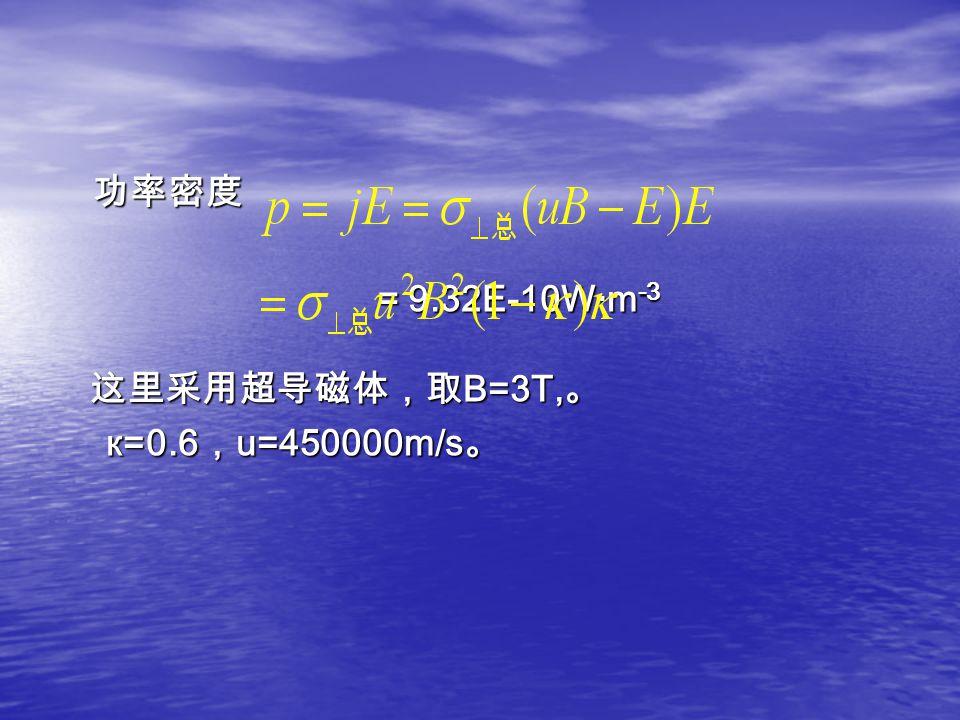 功率密度 功率密度 = 9.32E-10W·m -3 = 9.32E-10W·m -3 这里采用超导磁体,取 B=3T, 。 这里采用超导磁体,取 B=3T, 。 к=0.6 , u=450000m/s 。 к=0.6 , u=450000m/s 。