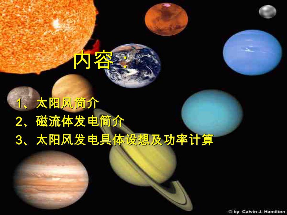 太阳风 是 太阳连续不断地 向宇宙空间辐射 出的稳定粒子流。 太阳风 是 太阳连续不断地 向宇宙空间辐射 出的稳定粒子流。 1 、太阳风简介 1 、太阳风简介