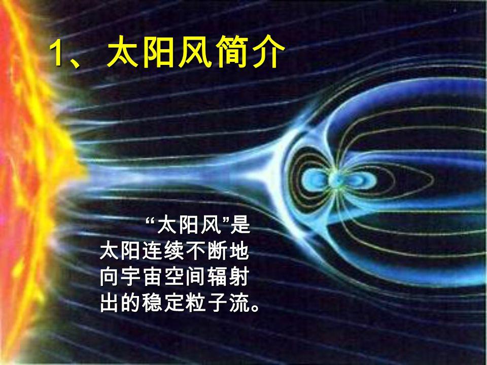 1962 年,美国的 水手二号 卫星在宇宙中观 测到太阳连续不断地向外辐射等离子体,证实了 太阳风的存在。在太阳的宁静期内所产生的太阳 风称为 宁静太阳风 ,它在地球轨道附近的速度 约为 450km/s ,每立方厘米所含质子数约 10--15 个,质子温度达几万度,当太阳活动较强时,日 冕抛出更强大的粒子流,称为 扰动太阳风 ,平 均速度可达 1000--2000km/s ,在地球附近每立方 厘米所含质子数可达几十个,质子温度有时可达 几百万度(电子温度是质子温度的 3--4 倍)。太 阳风主要含质子和电子,是等离子体,利用太阳 风发电用的是磁流体发电技术。 1962 年,美国的 水手二号 卫星在宇宙中观 测到太阳连续不断地向外辐射等离子体,证实了 太阳风的存在。在太阳的宁静期内所产生的太阳 风称为 宁静太阳风 ,它在地球轨道附近的速度 约为 450km/s ,每立方厘米所含质子数约 10--15 个,质子温度达几万度,当太阳活动较强时,日 冕抛出更强大的粒子流,称为 扰动太阳风 ,平 均速度可达 1000--2000km/s ,在地球附近每立方 厘米所含质子数可达几十个,质子温度有时可达 几百万度(电子温度是质子温度的 3--4 倍)。太 阳风主要含质子和电子,是等离子体,利用太阳 风发电用的是磁流体发电技术。
