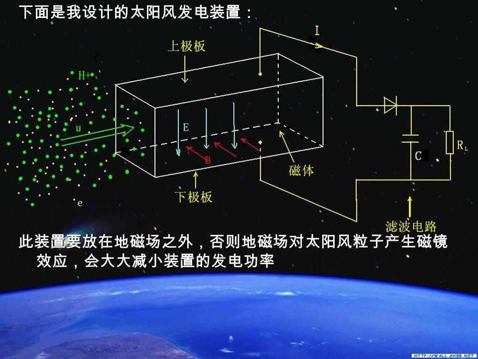 下面是我设计的太阳风发电装置: 此装置要放在地磁场之外,否则地磁场对太阳风粒子产生磁镜 效应,会大大减小装置的发电功率