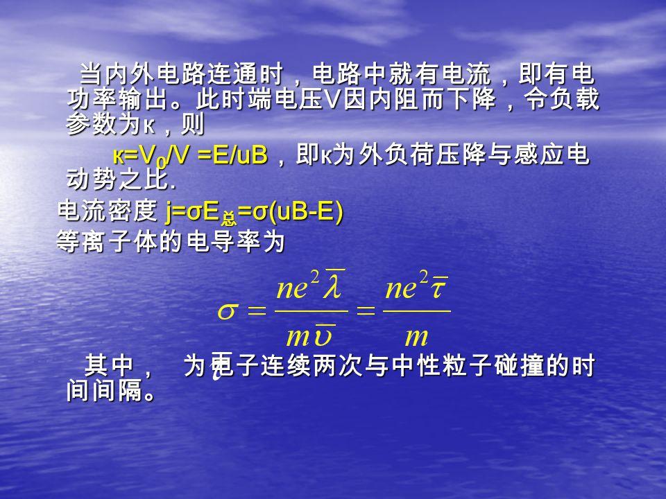 当内外电路连通时,电路中就有电流,即有电 功率输出。此时端电压 V 因内阻而下降,令负载 参数为 к ,则 当内外电路连通时,电路中就有电流,即有电 功率输出。此时端电压 V 因内阻而下降,令负载 参数为 к ,则 к=V 0 /V =E/uB ,即 к 为外负荷压降与感应电 动势之比. к=V 0