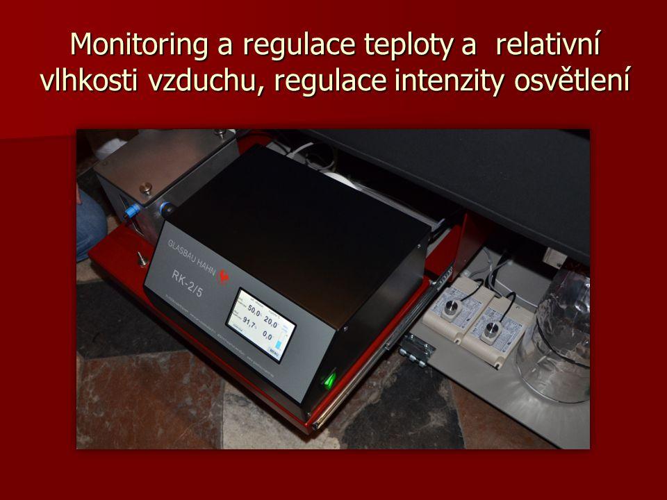 Monitoring a regulace teploty a relativní vlhkosti vzduchu, regulace intenzity osvětlení