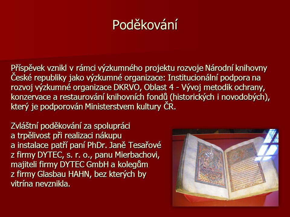 Příspěvek vznikl v rámci výzkumného projektu rozvoje Národní knihovny České republiky jako výzkumné organizace: Institucionální podpora na rozvoj výzk