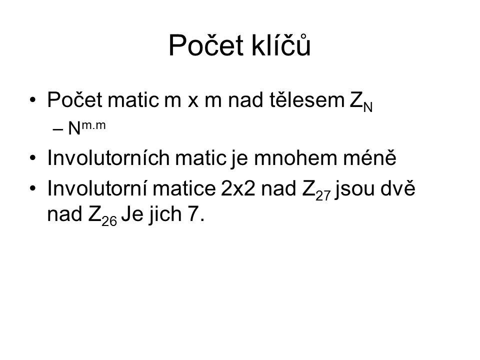 Počet klíčů Počet matic m x m nad tělesem Z N –N m.m Involutorních matic je mnohem méně Involutorní matice 2x2 nad Z 27 jsou dvě nad Z 26 Je jich 7.