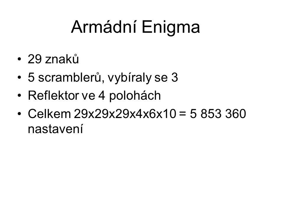 Armádní Enigma 29 znaků 5 scramblerů, vybíraly se 3 Reflektor ve 4 polohách Celkem 29x29x29x4x6x10 = 5 853 360 nastavení