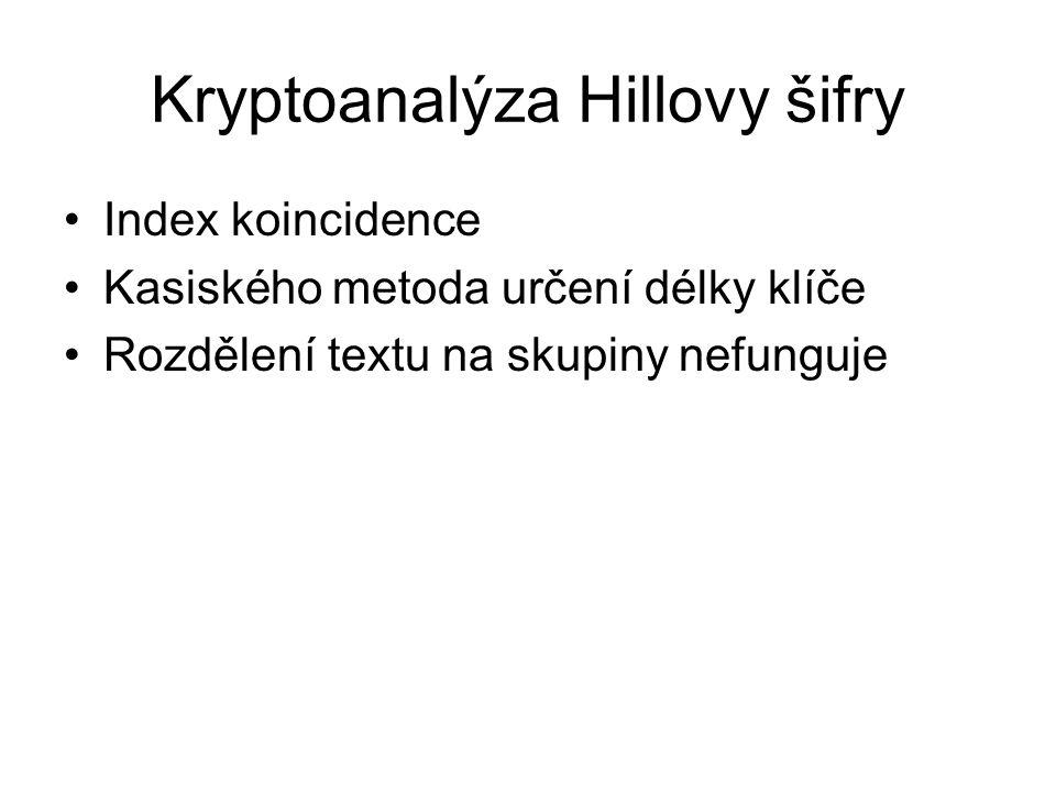 Kryptoanalýza Hillovy šifry Index koincidence Kasiského metoda určení délky klíče Rozdělení textu na skupiny nefunguje