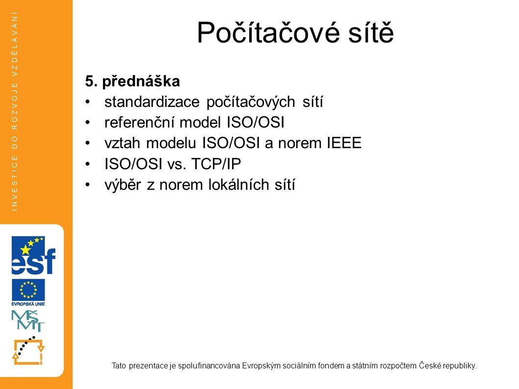 Počítačové sítě 5. přednáška standardizace počítačových sítí referenční model ISO/OSI vztah modelu ISO/OSI a norem IEEE ISO/OSI vs. TCP/IP výběr z nor