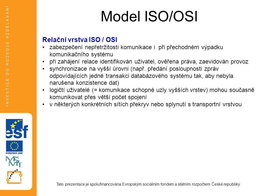 Model ISO/OSI Tato prezentace je spolufinancována Evropským sociálním fondem a státním rozpočtem České republiky. Relační vrstva ISO / OSI zabezpečení