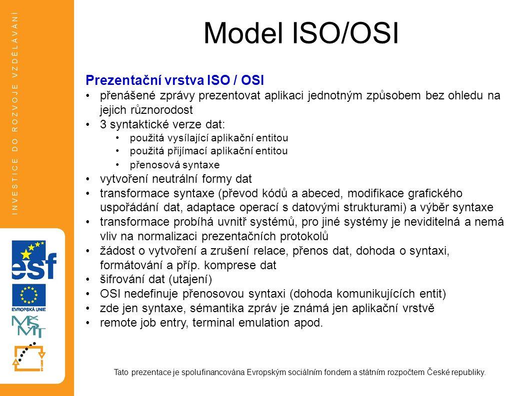 Model ISO/OSI Tato prezentace je spolufinancována Evropským sociálním fondem a státním rozpočtem České republiky. Prezentační vrstva ISO / OSI přenáše