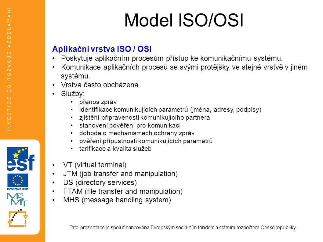 Model ISO/OSI Tato prezentace je spolufinancována Evropským sociálním fondem a státním rozpočtem České republiky. Aplikační vrstva ISO / OSI Poskytuje