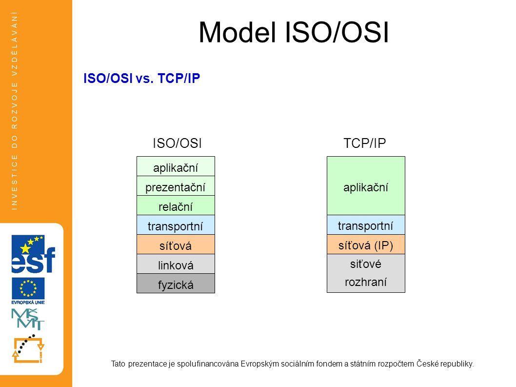 Model ISO/OSI Tato prezentace je spolufinancována Evropským sociálním fondem a státním rozpočtem České republiky. ISO/OSI vs. TCP/IP aplikační prezent