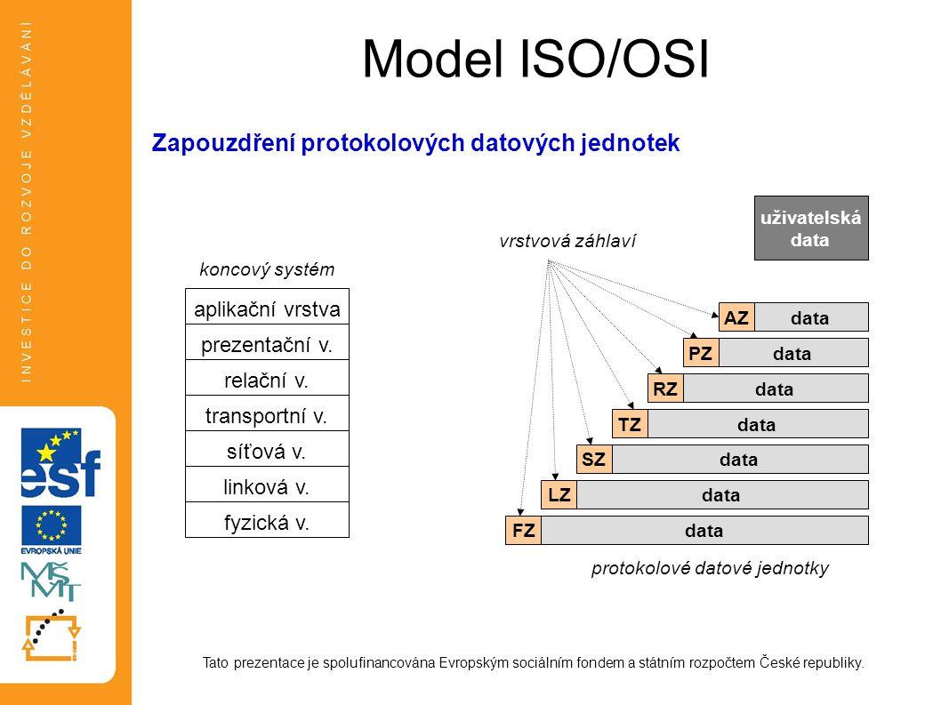Model ISO/OSI Tato prezentace je spolufinancována Evropským sociálním fondem a státním rozpočtem České republiky. Zapouzdření protokolových datových j